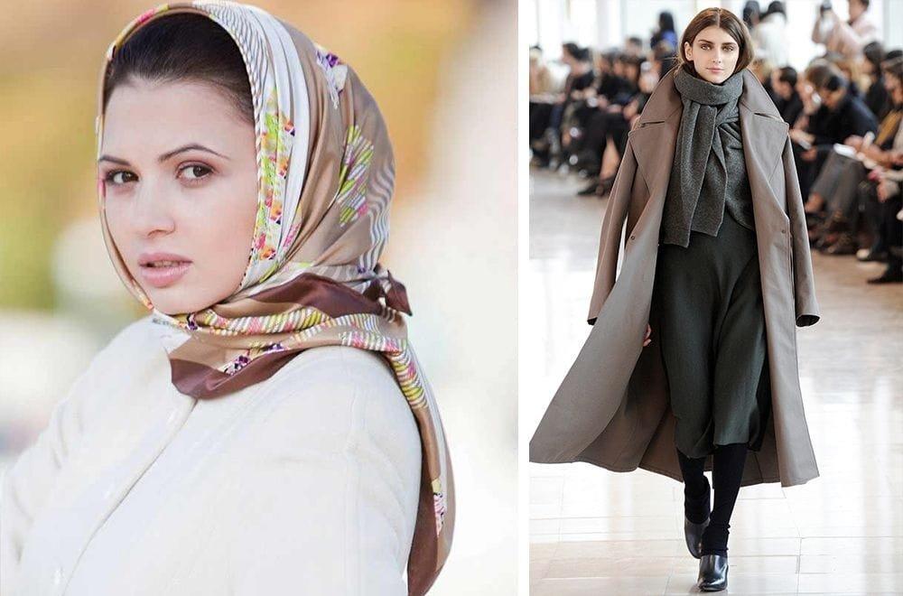 палантины с пальто разные