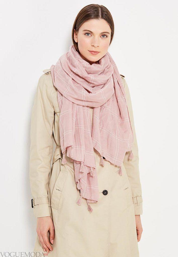 палантин с пальто розовый