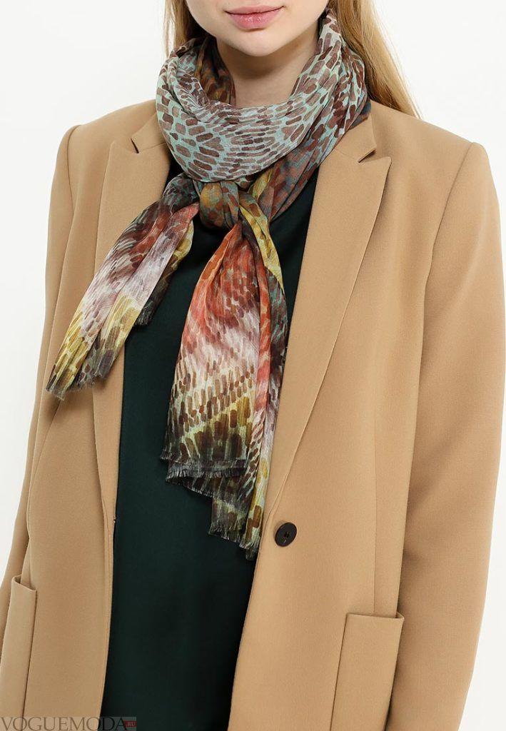 палантин с пальто цветной