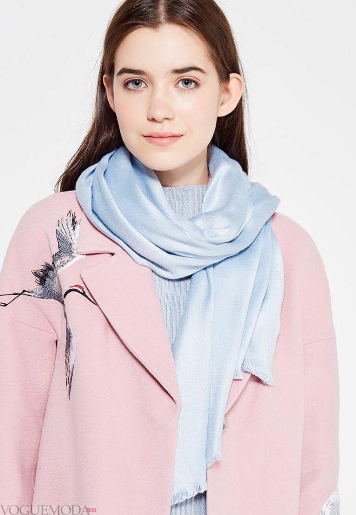 палантин с пальто голубой