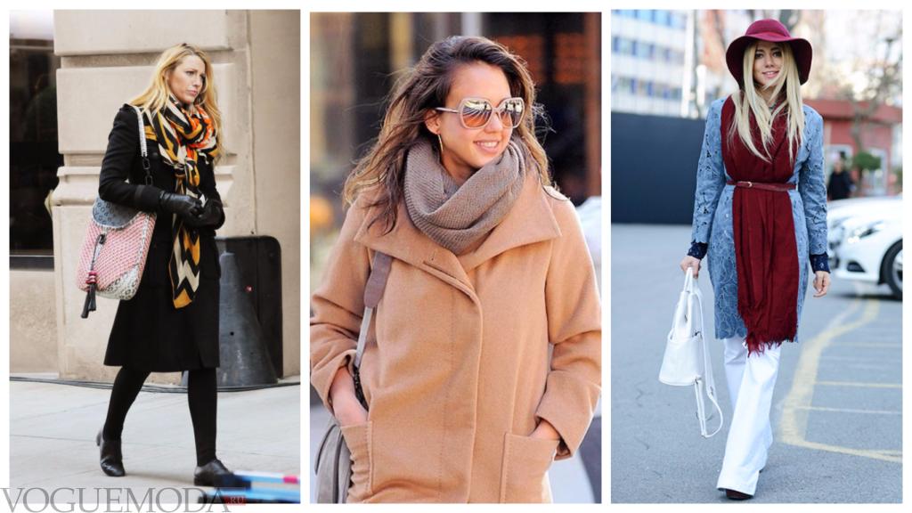 палантины с пальто модные