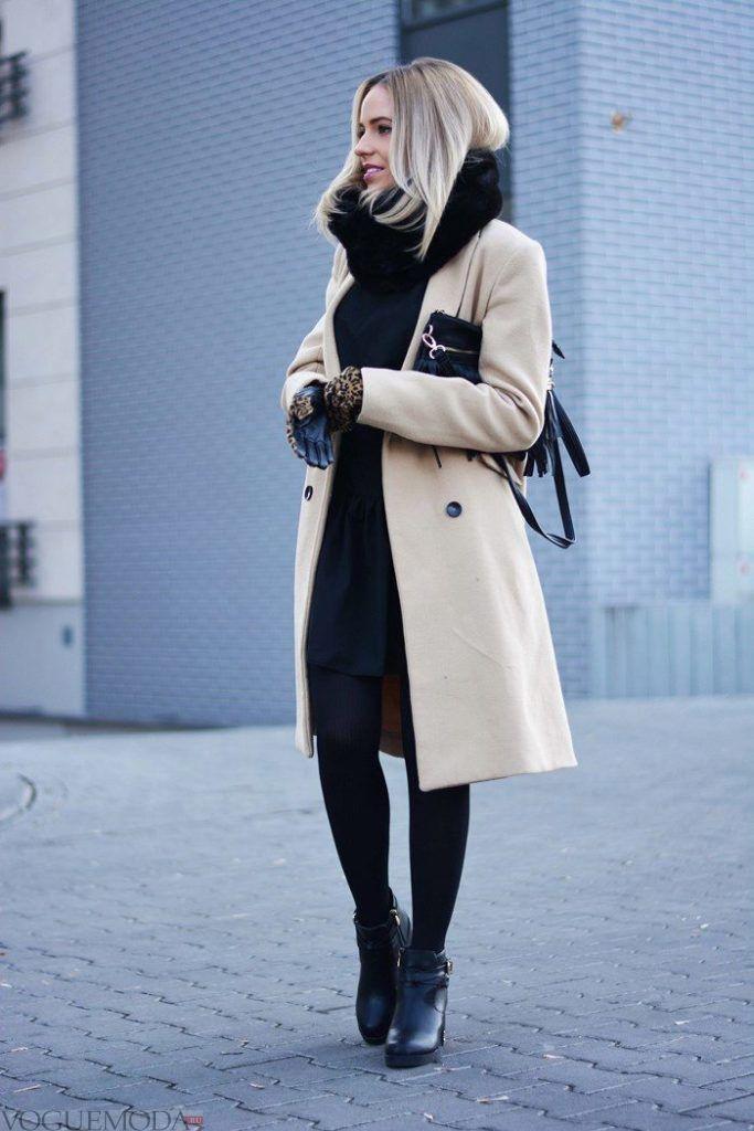 палантин с пальто черный