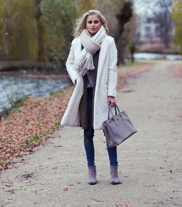 палантин с пальто белый