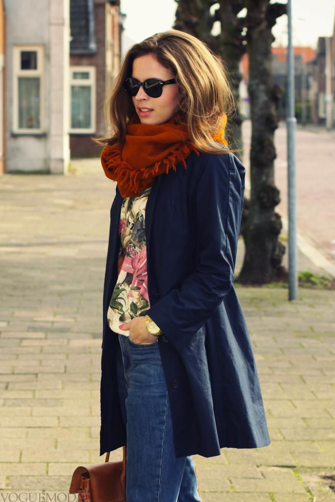 палантин с пальто коричневый