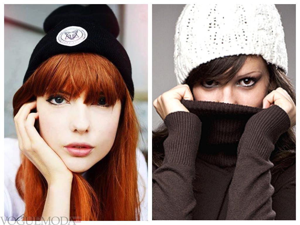 вязаные шапки с челкой разные