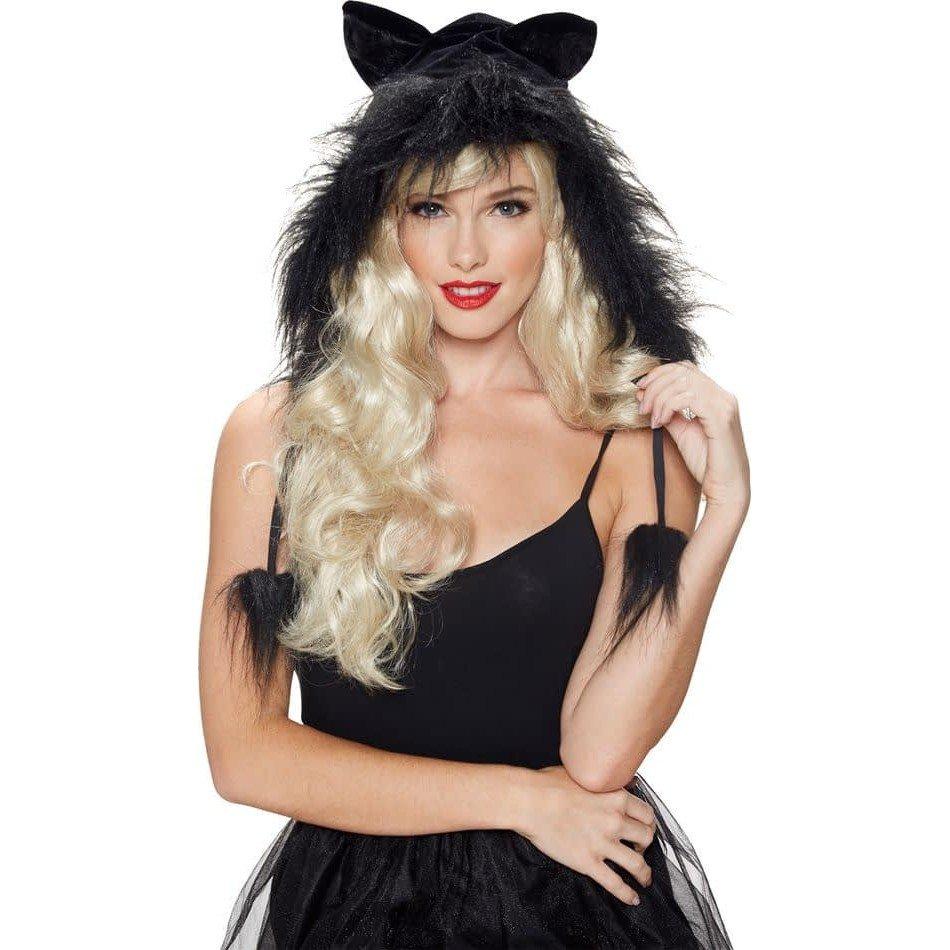 Костюм черной кошки на хэллоуин с мехом