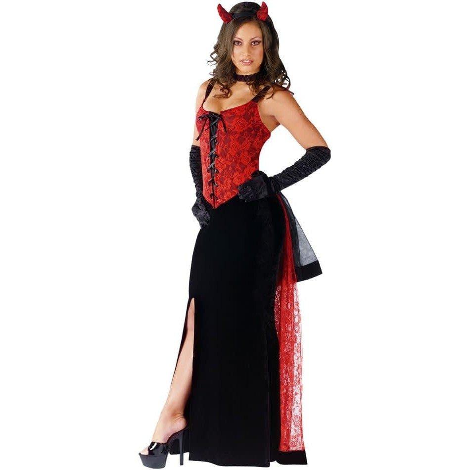 костюм дьяволицы на хэллоуин длинный