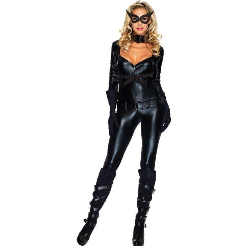 Костюм черной кошки на хэллоуин облегающий