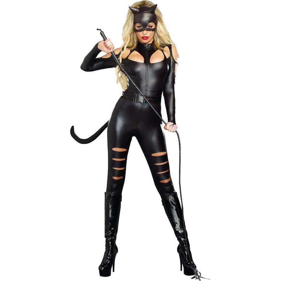 Костюм черной кошки на хэллоуин с декором