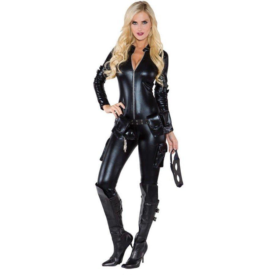 Костюм черной кошки на хэллоуин кожаный