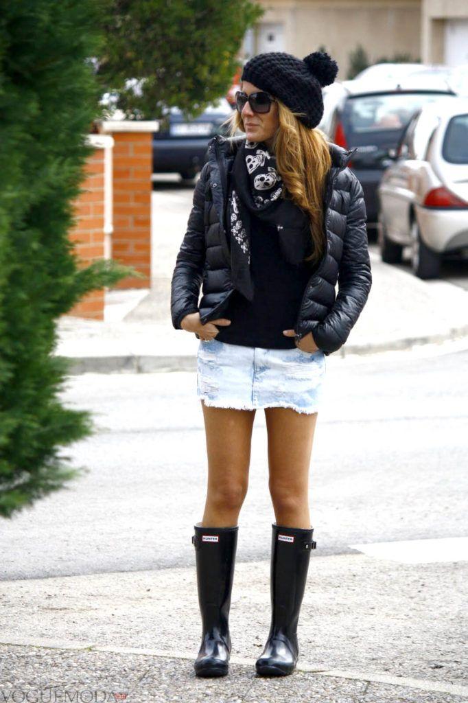 шапка с короткой курткой черная