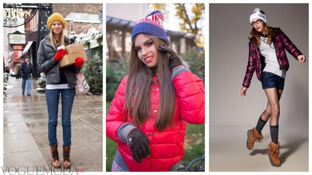 шапки с короткими куртками модные