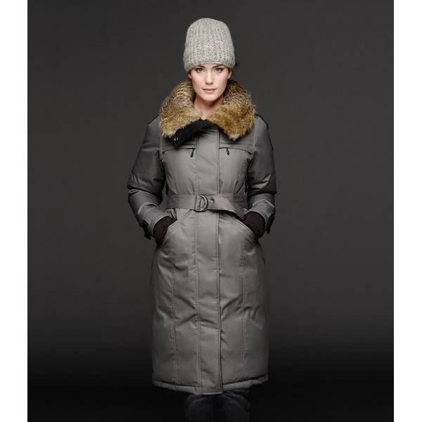 шапка с длинной курткой серая