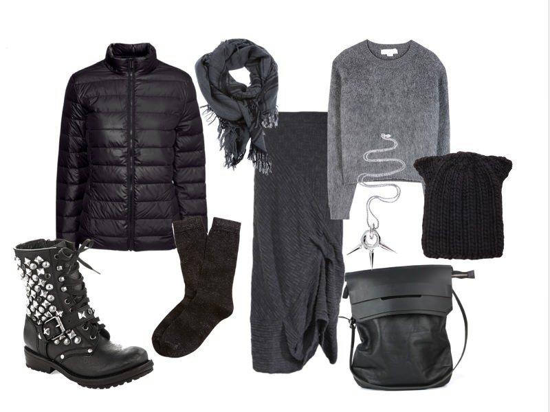 лук шапки с черной курткой