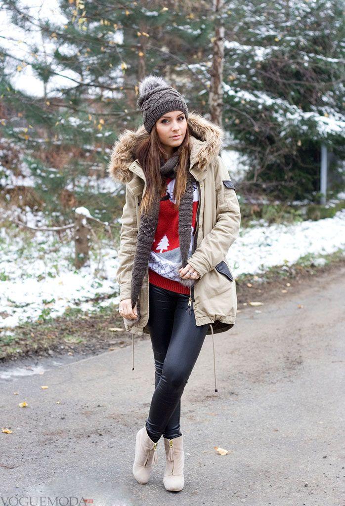 шапка с курткой средней длинны с декором