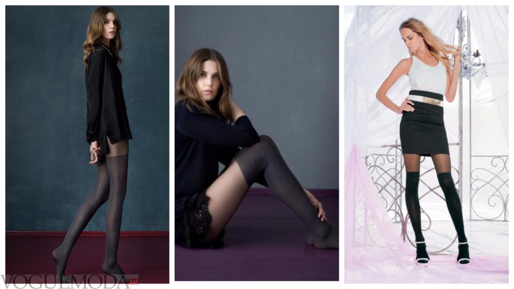 колготки с имитацией чулка для повседневной деловой носки разные