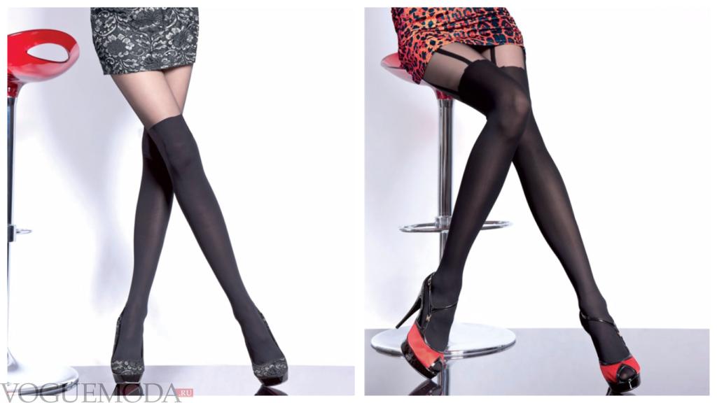колготки с имитацией чулка для повседневной деловой носки модные