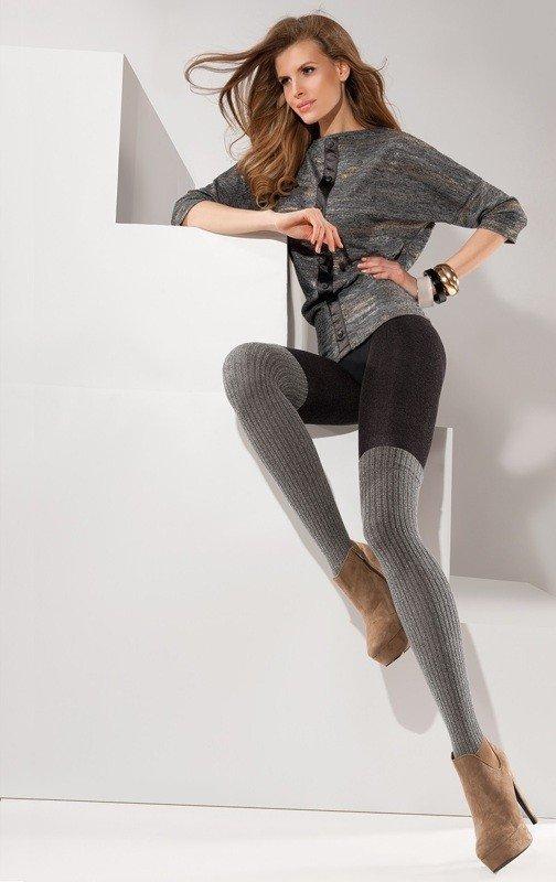 колготки с имитацией чулка для повседневной деловой носки серые
