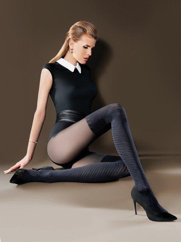 колготки с имитацией чулка для повседневной деловой носки плотные