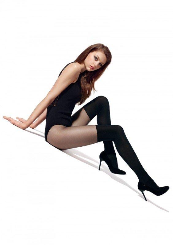 колготки черные с имитацией чулка для повседневной деловой носки