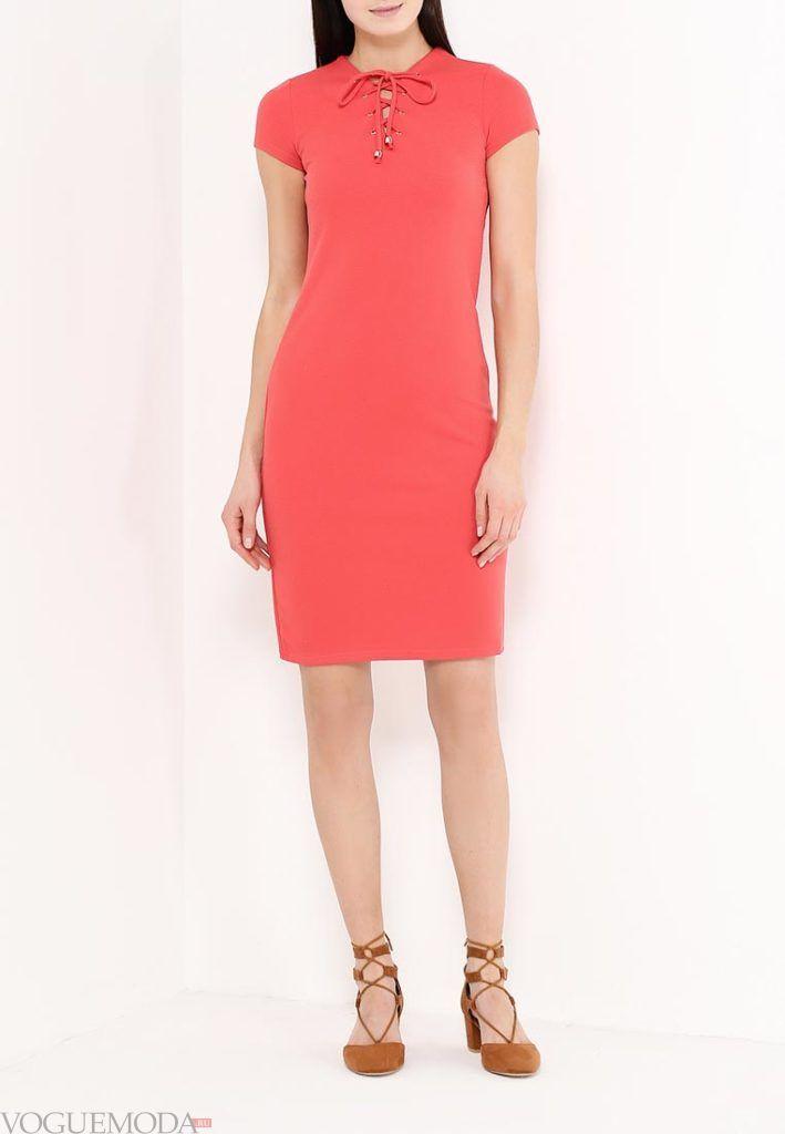 короткое коралловое платье с чем носить до колена фото