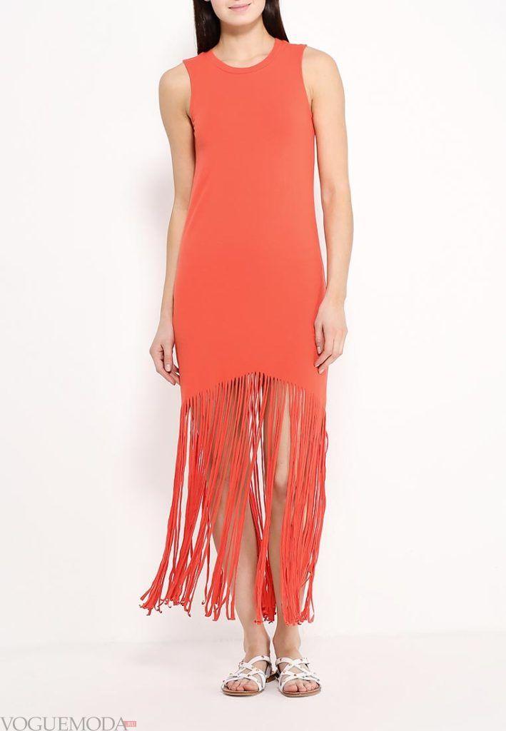 коралловое платье с чем носить в пол с бахромой фото