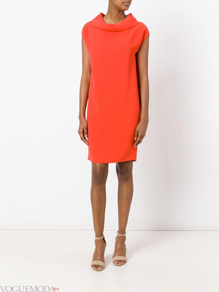 с чем носить коралловое платье футляр