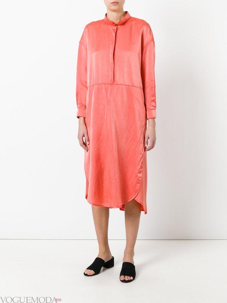 с чем носить коралловое платье рубашка