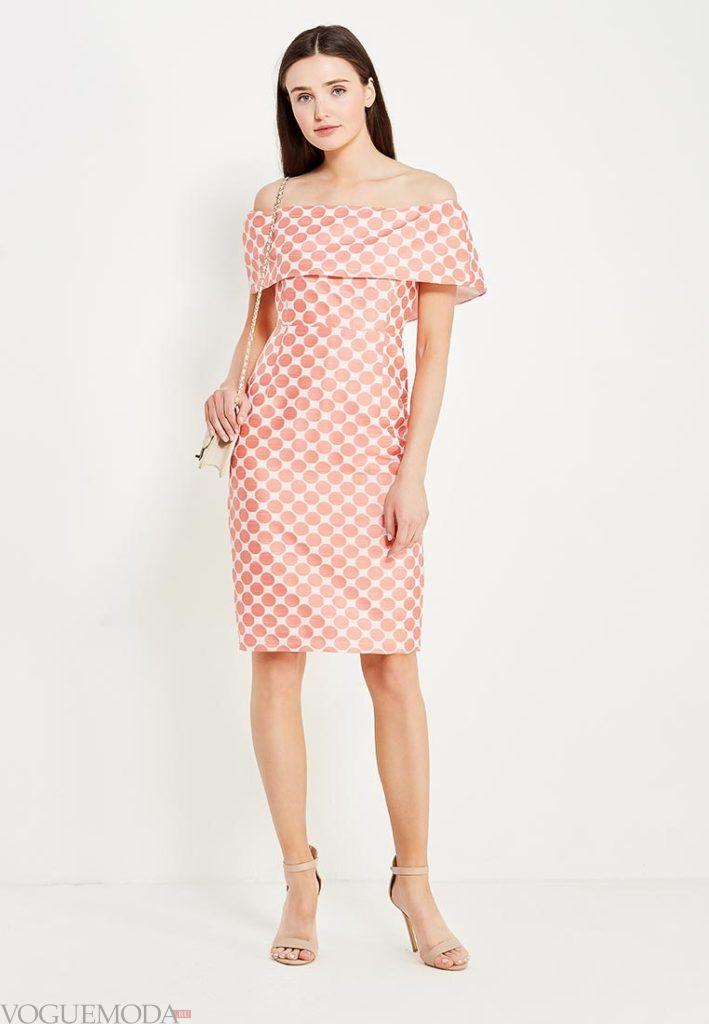 с чем носить короткое коралловое платье в горошек фото