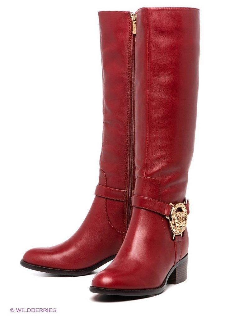 прямые жокейские красные сапоги с украшением