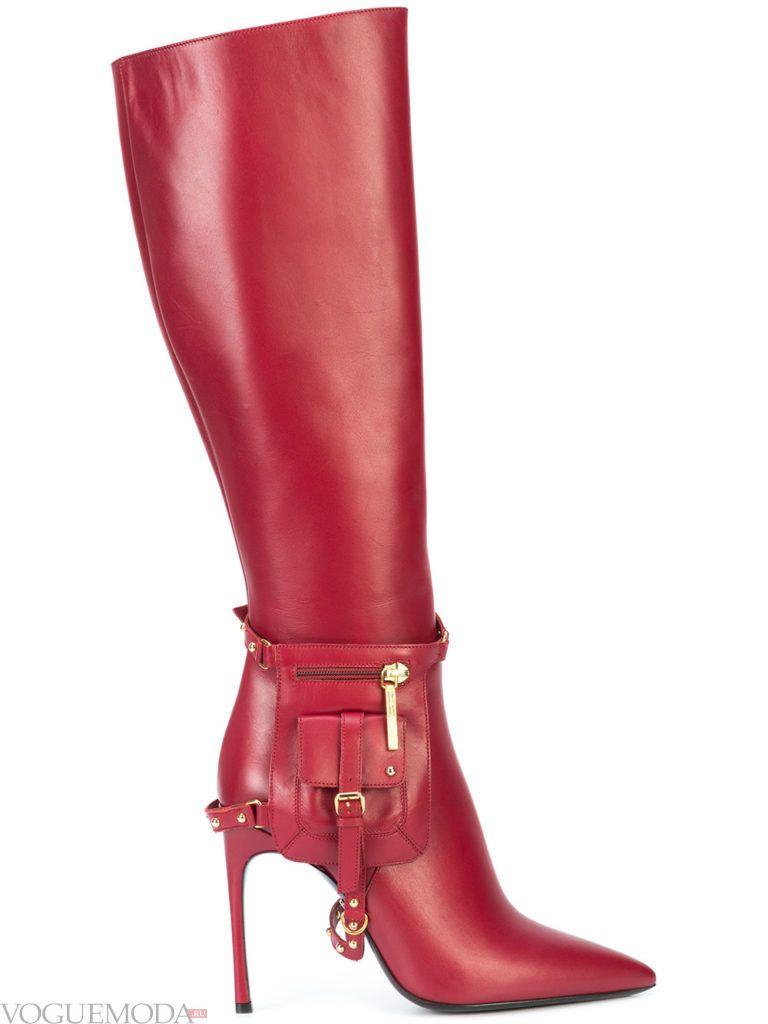 кожаные красные сапоги на шпильке