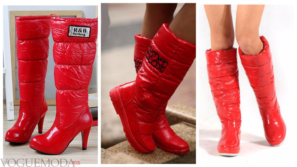 красные дутые сапожки модные