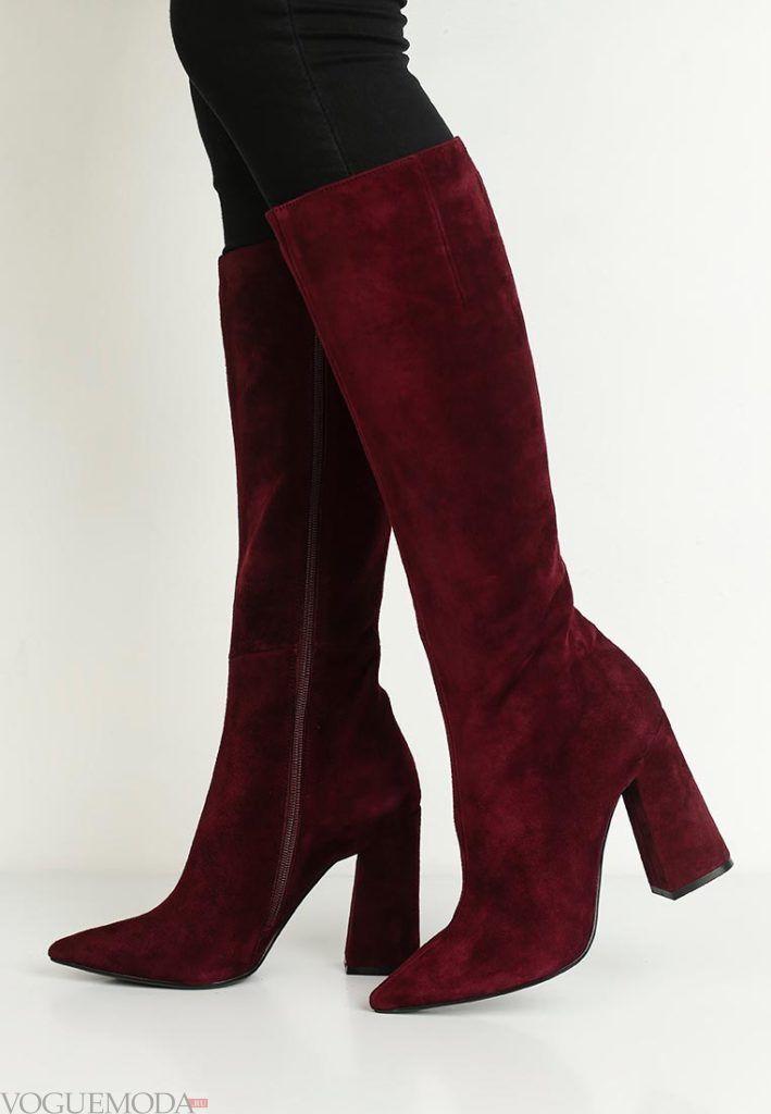 замшевые красные сапоги модные