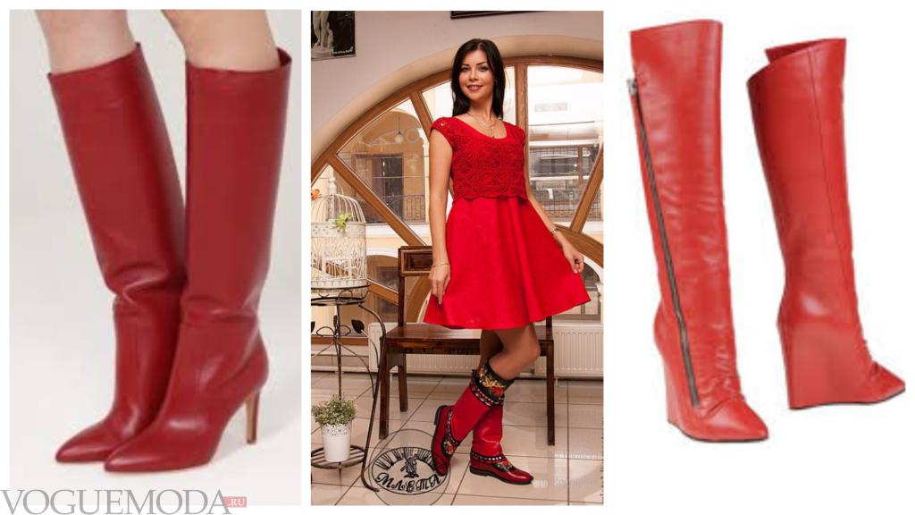 кожаные красные сапоги разных моделей
