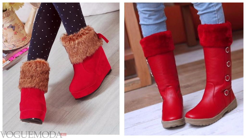 Красные сапожки с опушкой модные