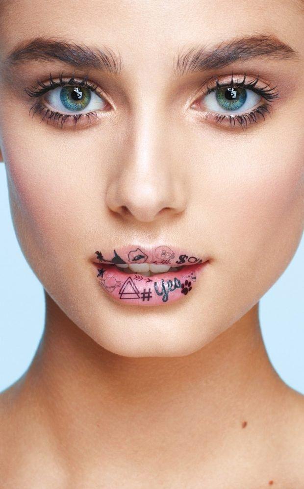 летний макияж с рисунком губ
