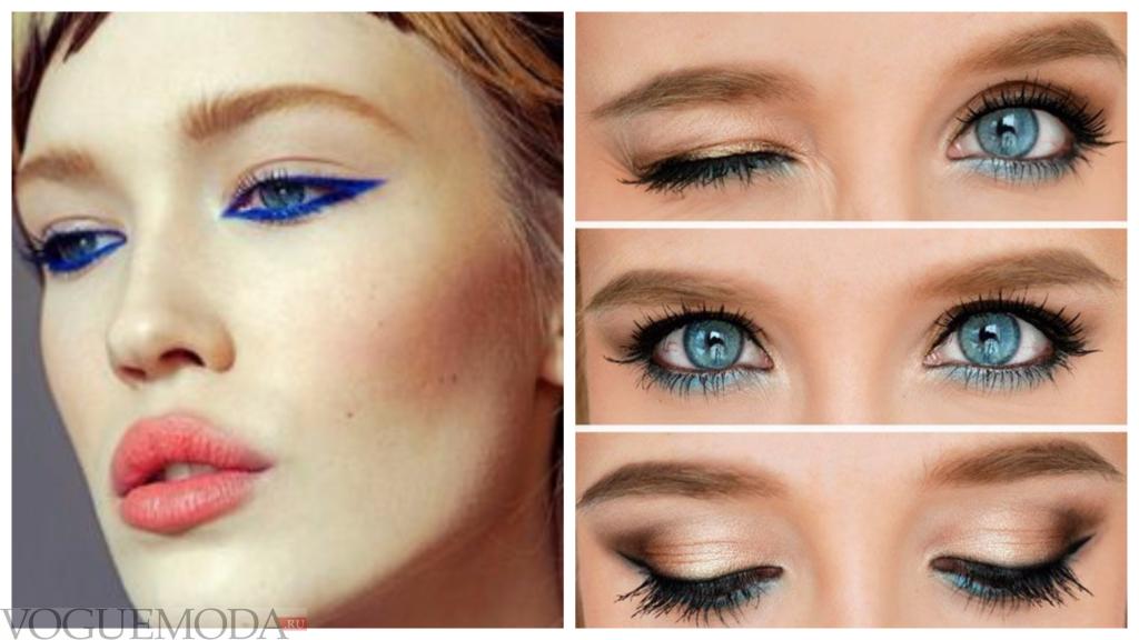 вечерний макияж для русых волос и голубых глаз со стрелками