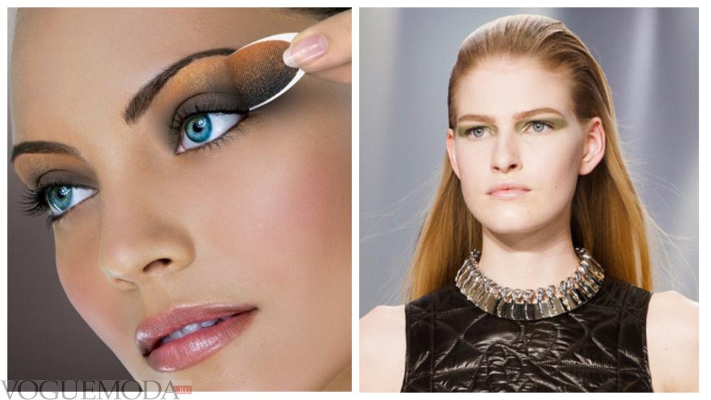 монохромный макияж для русых волос и голубых глаз яркий