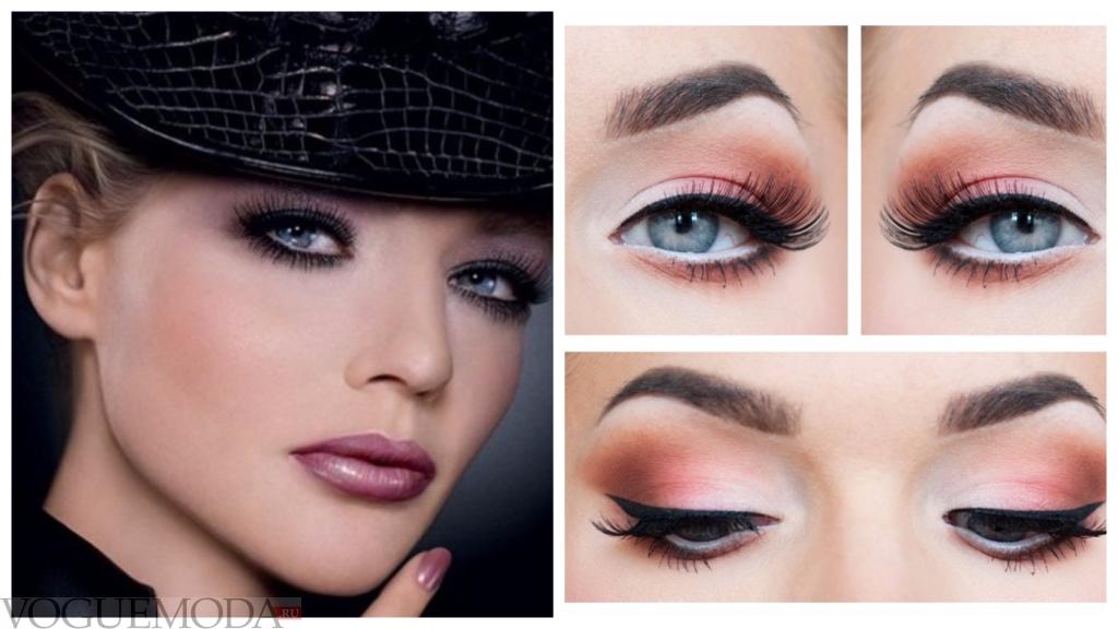 макияж для почти синих глаз темный