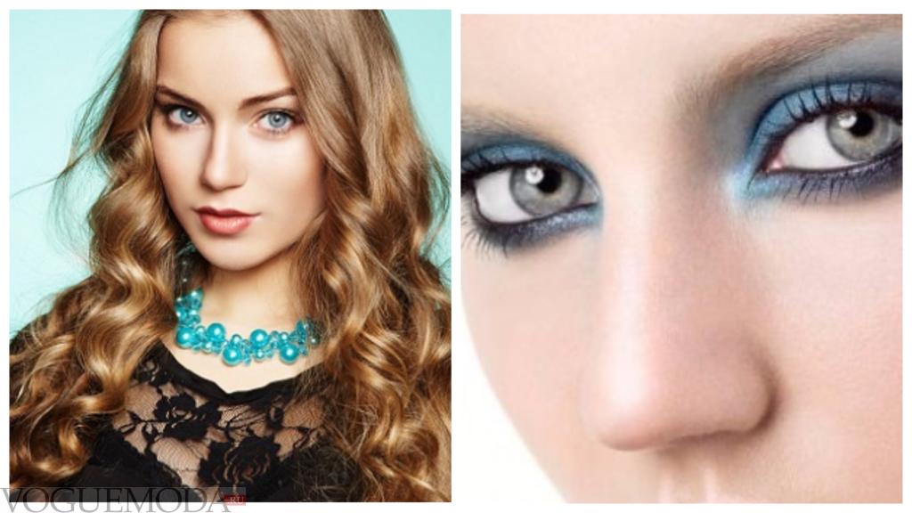 макияж для серо-голубых глаз модный
