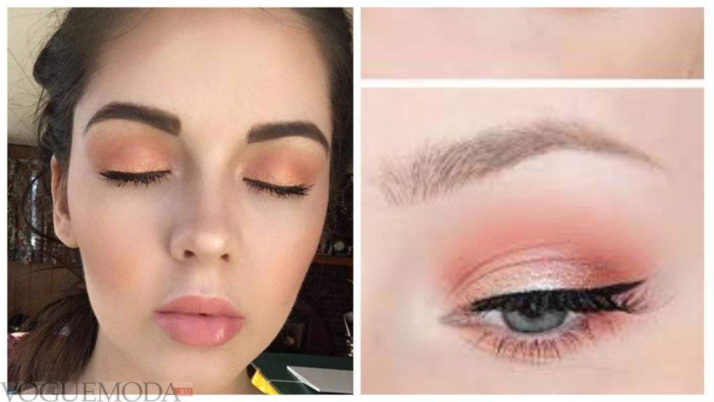 vакияж для голубых глаз с персиковыми тенями натуральный
