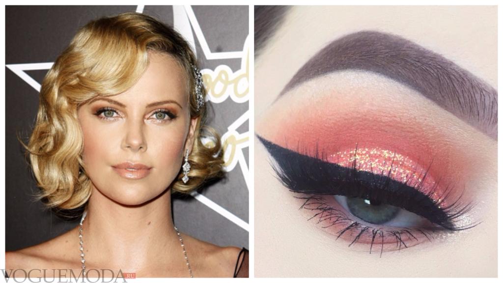 макияж для голубых глаз с персиковыми тенями знаменитость