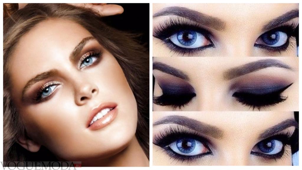 черный макияж для русых волос и голубых глаз яркий