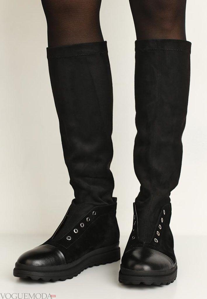 сапоги черные до колена