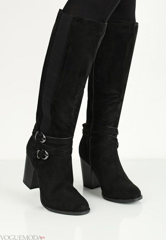 сапоги черные комбинированные