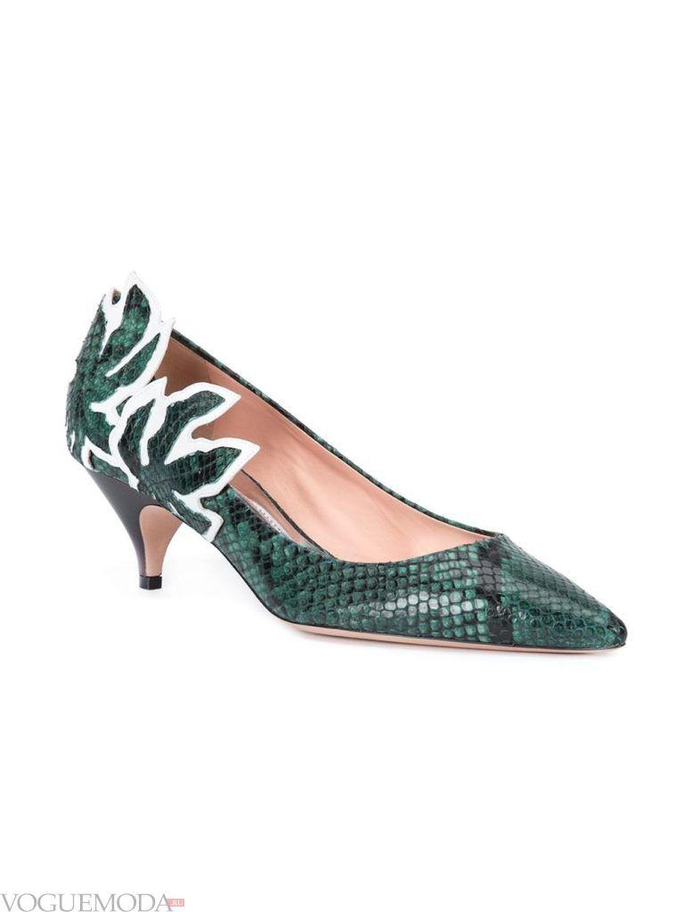 туфли зеленые из кожи рептилий
