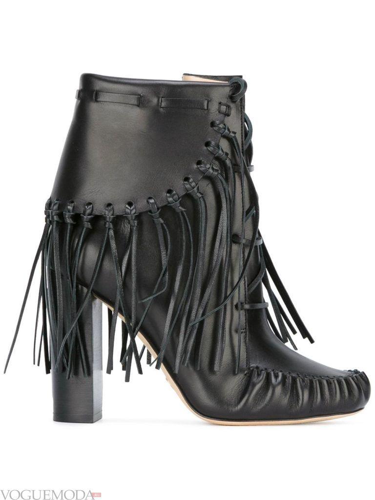 женские черные ботинки с бахромой