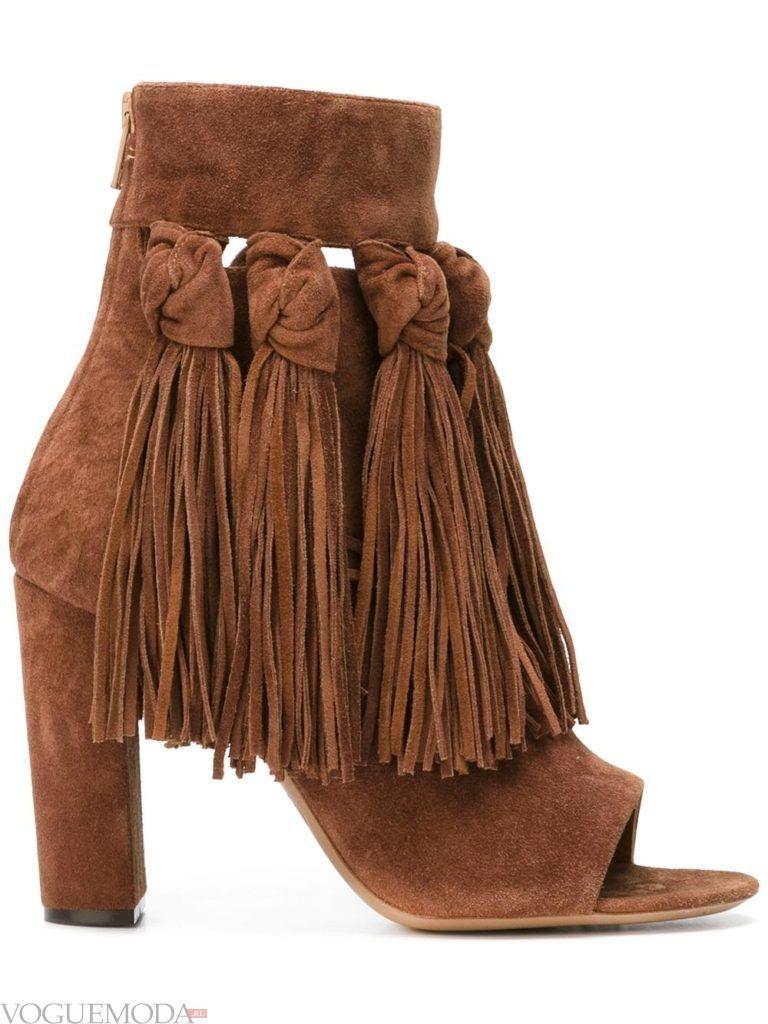 женские ботинки с бахромой