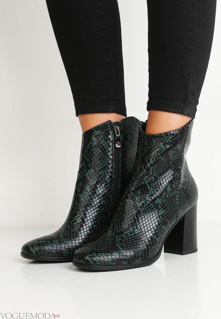 женские ботинки зеленые из кожи рептилии