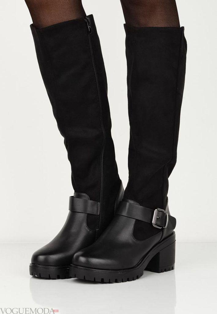 женские сапоги на квадратном каблуке черные
